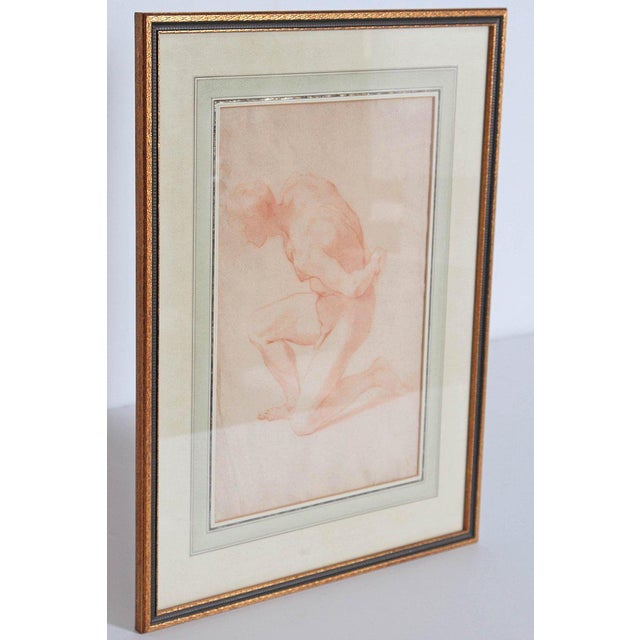Chalk 19th Century Continental Red Chalk Drawing, Figure Study For Sale - Image 7 of 12