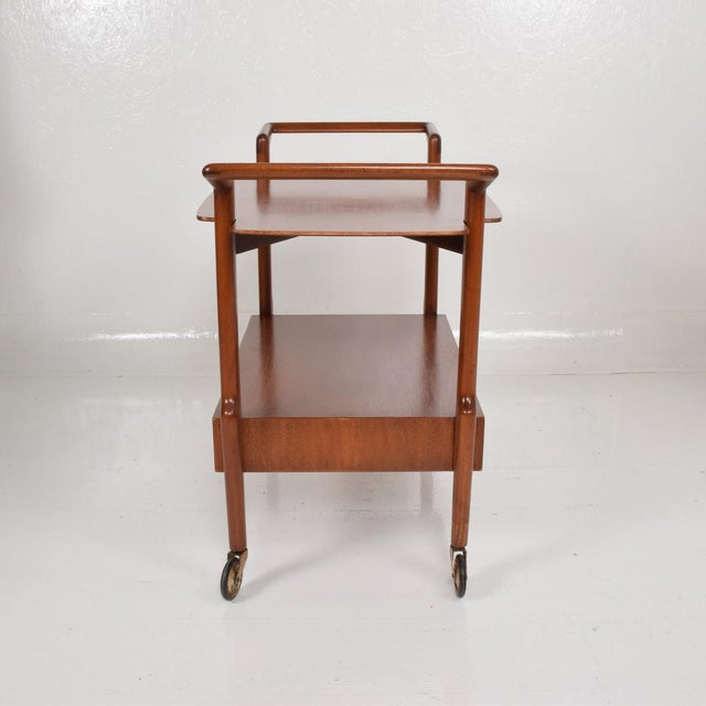 Danish Modern Mid-Century Mexican Modern Mahogany Service Cart For Sale - Image 3 of 10