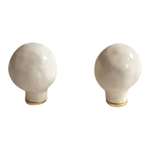 White Ceramic Finials-Large - a Pair For Sale