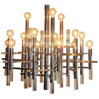Sciolari Chrome and Lucite Fifteen-Light Chandelier For Sale