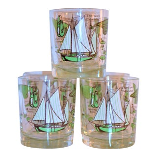 Mid Century Nautical Double Old Fashion Glasses - Set of 6 For Sale