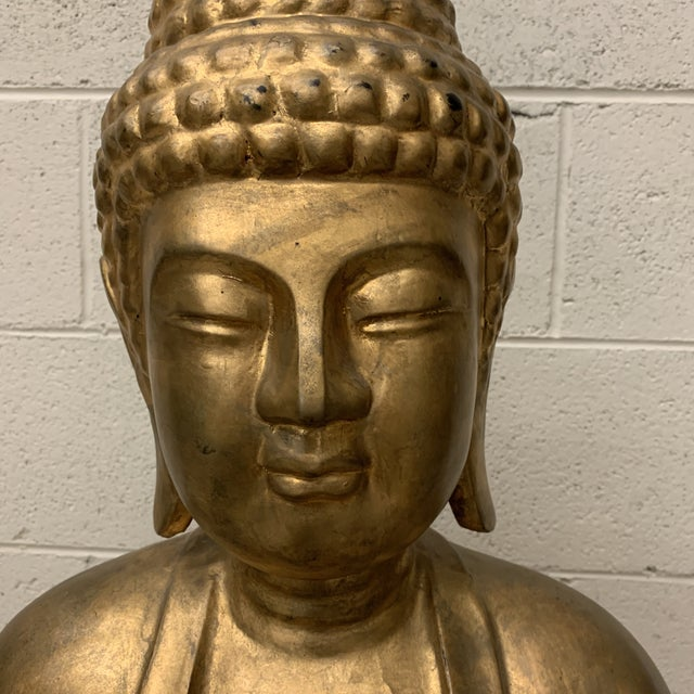 Lifesize Hand Carved Solid Wood Gold Leaf Buddha For Sale - Image 4 of 13