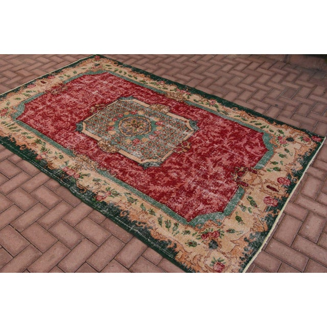 Distressed Turkish Handmade Area Rug - 5′2″ × 8′3″ - Image 3 of 6
