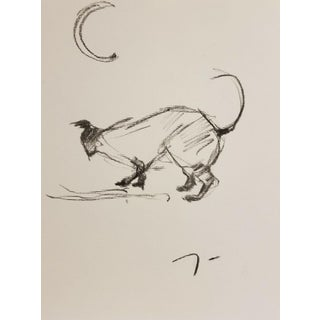 Cat & Moon Contemporary Charcoal Drawing For Sale