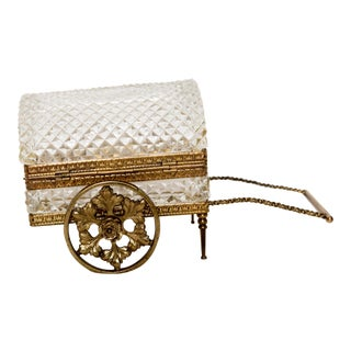 Antique German Crystal & Bronze Jewelry Casket Carriage