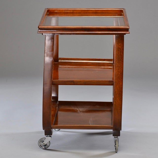 English Wooden Bar Cart or Tea Trolley With Removable Glass Tray For Sale - Image 4 of 8