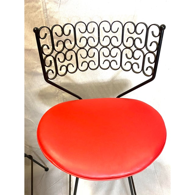 Metal Wow Arthur Umanoff for Grenada Collection Iron Swivel Counter Bar Stools W/ Original Red Cushions For Sale - Image 7 of 10