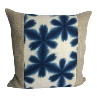 Antique Indigo Kimono Fabric on Heavy Linen Pillow Cover For Sale