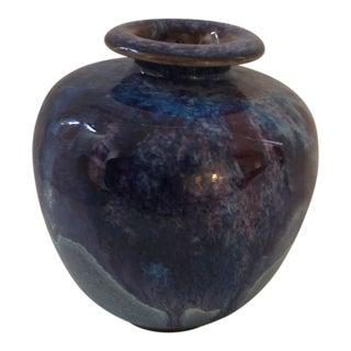 Mid-Century Blue Glaze Pottery Vase For Sale