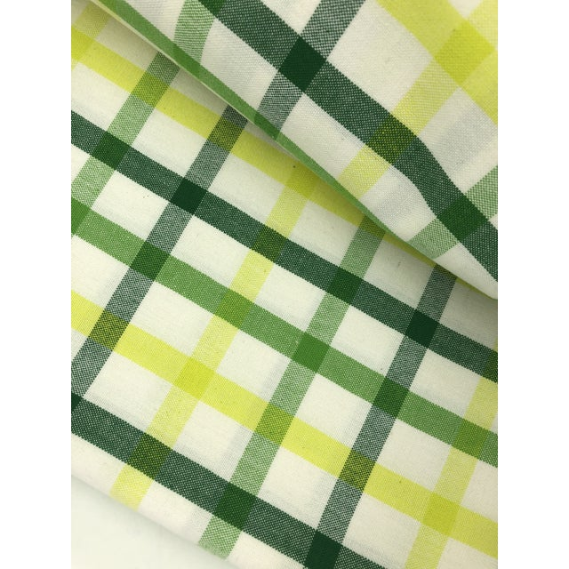 """Top Sheet Flat 100% Cotton Handloom Hand Woven White Green Yellow Citrus Madras Checks 80 X 60"""" Inch Pillow Covers New For Sale In Los Angeles - Image 6 of 8"""