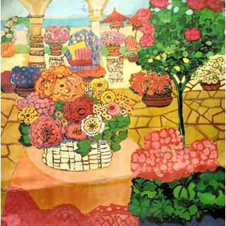"Mid 20th Century ""Summer Veranda"" Bright Florals & Botanicals Signed Lithograph, Limited Edition For Sale"