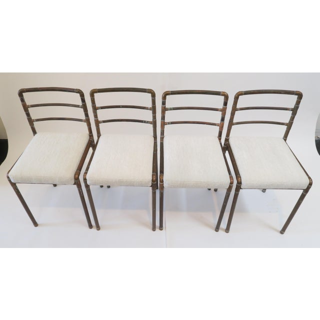 Copper Upholstered Pipe Chairs - Set of 4 - Image 3 of 8