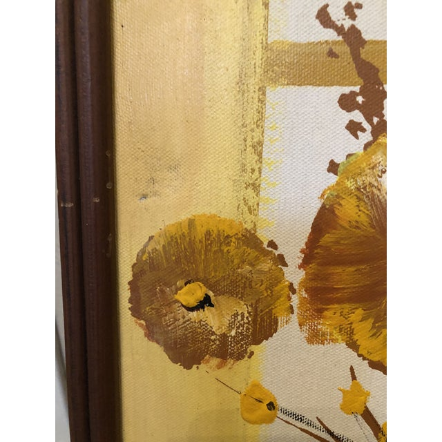Paint 1960s Mid-Century Style Floral Still Life Painting, Framed For Sale - Image 7 of 8