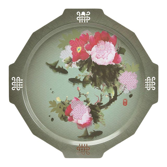 Peony + Coy Mural Serving Tray, Ibride For Sale
