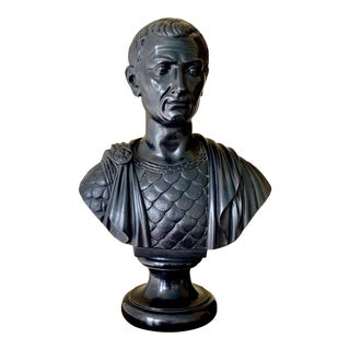 Mid 20th Century Black Basalt Bust of Roman Senator For Sale