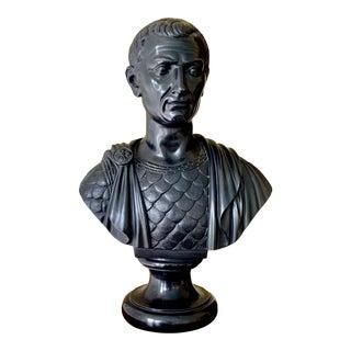 Mid 20th Century Black Basalt Bust of Roman Senator For Sale