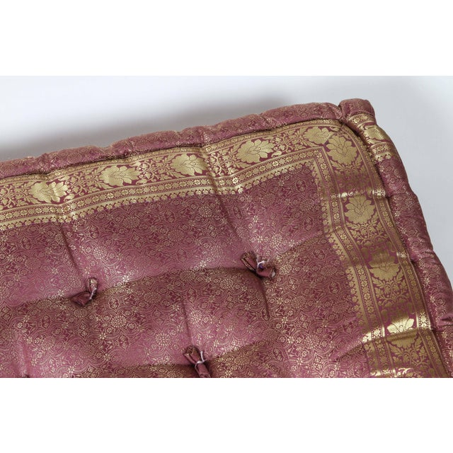 Mid 20th Century Oversized Silk Square Mauve and Gold Tufted Moroccan Floor Pillow For Sale - Image 5 of 7