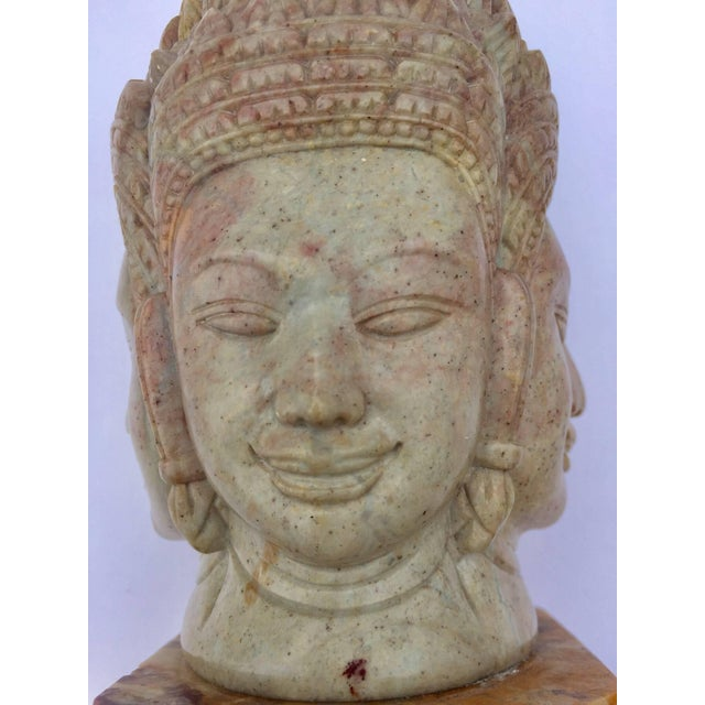 Soapstone Hand-Carved Bust of Brahma With Four Faces For Sale - Image 12 of 13