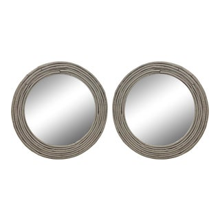 Mid-Century French Round Reeded Bamboo Mirrors - a Pair