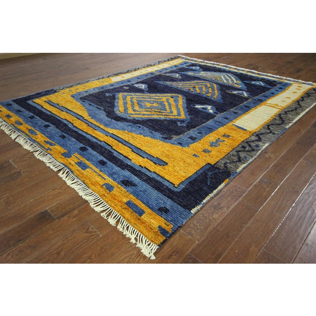 "Blue Wool Tullu Hand Knotted Rug - 7' 10"" X 10' 3"" - Image 4 of 10"