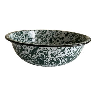 Speckled Enamel Metal Serving or Decor Bowl For Sale