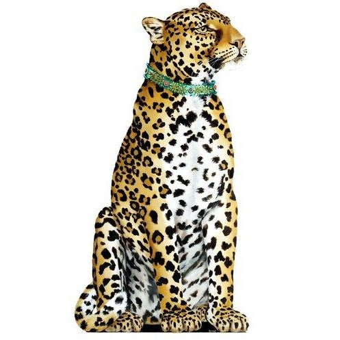 DESCRIPTION These Regal Creatures in their jeweled collars will guard and adorn any part of a home. Screen printed and...