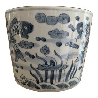 Vintage Chinese Blue and White Decorative Large Cachepot Jardiniere For Sale