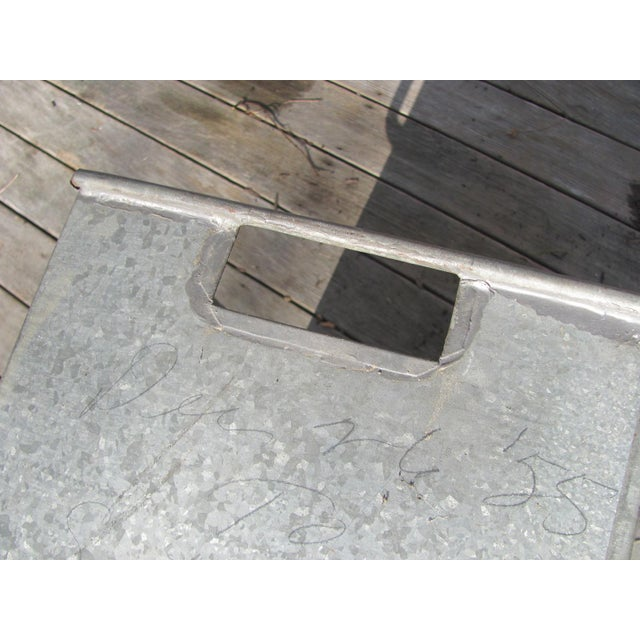 Gray Industrial Style Galvanized Steel Waste Basket For Sale - Image 8 of 13