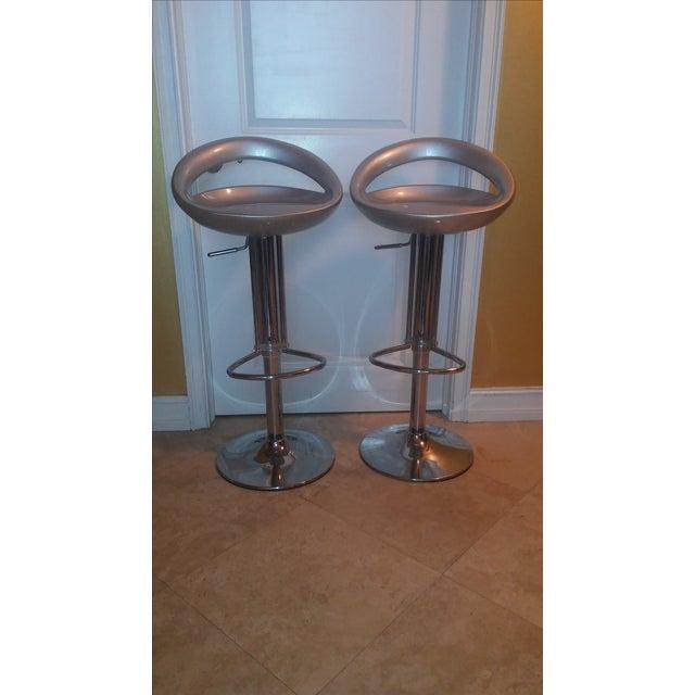 Silver Modern Bar Stools - A Pair - Image 2 of 8