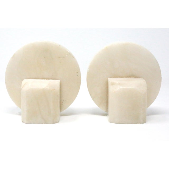 Stone Vintage Mid Century Round Marble Stone Bookends - a Pair For Sale - Image 7 of 7