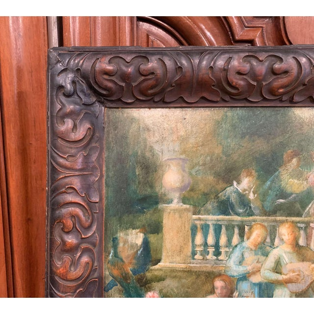 19th Century Spanish Serenade Painting on Board in Original Carved Frame For Sale In Dallas - Image 6 of 9
