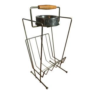 Mid-Century Brass Magazine Rack & Ashtray Stand