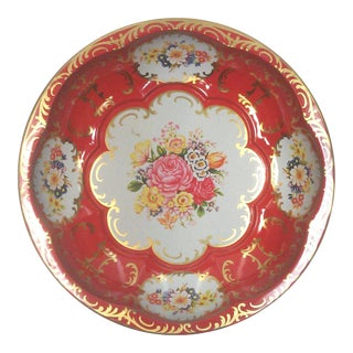 English Red Floral Tin Decorative Scalloped Bowl For Sale