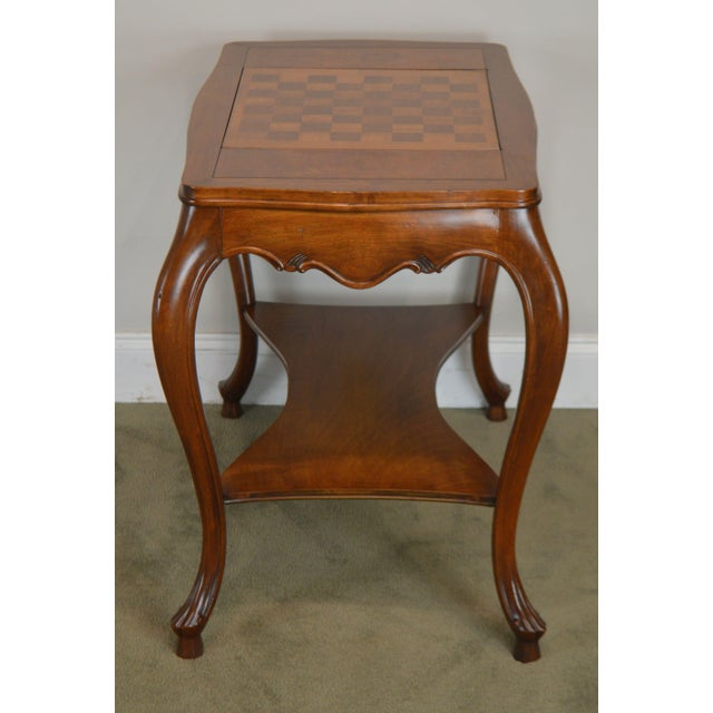 1960s Italian Provincial Louis XV Style Game Table W/ Chess Board Top For Sale - Image 5 of 13