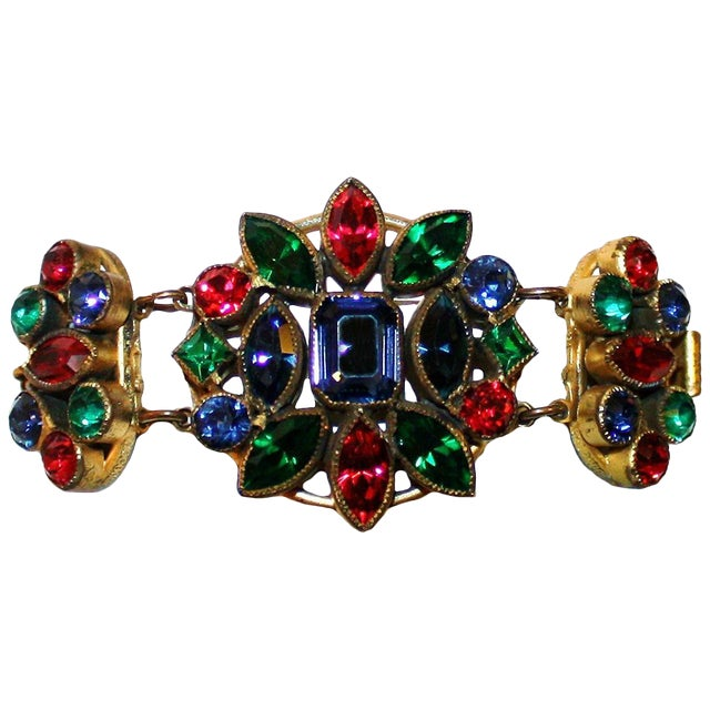 1930s Czech Jewel-Tone Faceted Bohemian Glass Bracelet For Sale