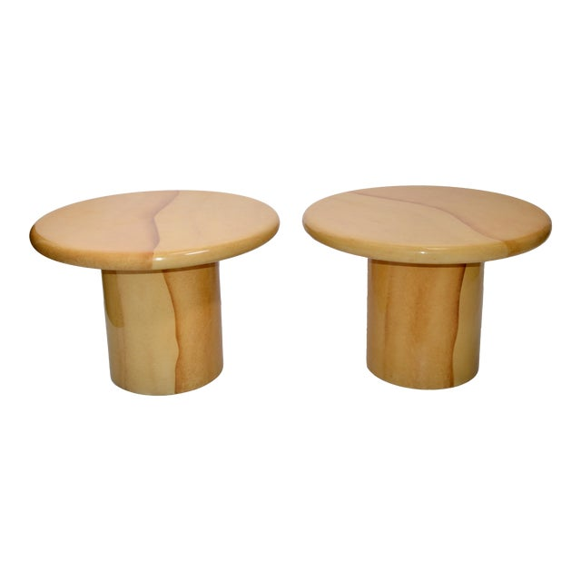 Karl Springer Style Lacquered Goatskin Top Side Tables Mid-Century Modern - Pair For Sale