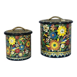 Vintage Colorful Floral Biscuit Tin Canisters - Set of Two For Sale