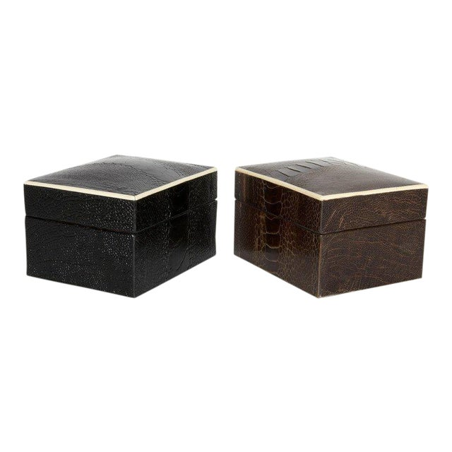 Contemporary Pair of R & Y Augousti Decorative Boxes in Exotic Ostrich Leather With Bone Inlay For Sale - Image 3 of 13