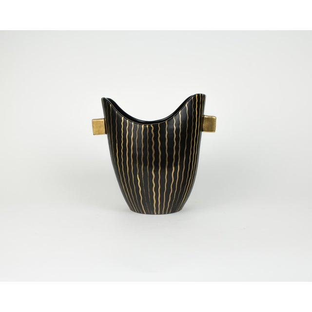 Mid Century Italian Striped Black and Gold Vase For Sale - Image 9 of 13