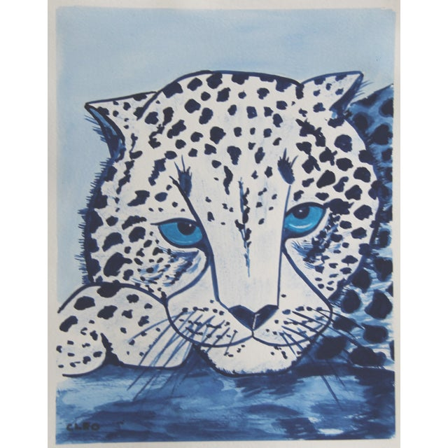 A wild white tiger portrait with sky blue eyes in shades of indigo blue, inspired by Chinese paintings. Contemporary...