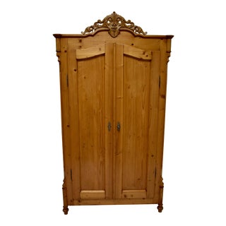 Pine Louis-Philippe Two Door Armoire For Sale