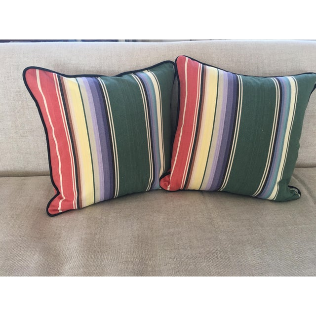 Awning Stripe Custom Pillows - A Pair For Sale - Image 4 of 6
