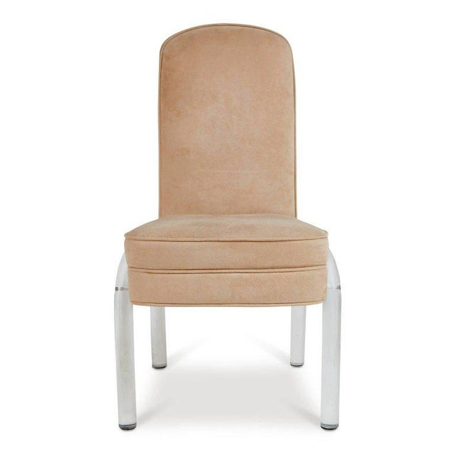Elegant set of five Lucite dining chairs by Hill Manufacturing Co. These side chairs feature waterfall style Lucite legs...
