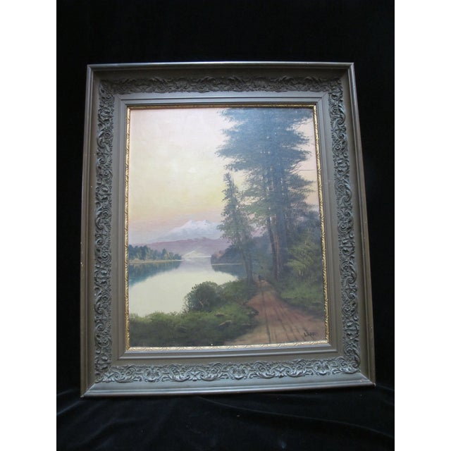 Green John J Englehart J Hart Sunset on Lake Tahoe California Antique Landscape Painting For Sale - Image 8 of 8