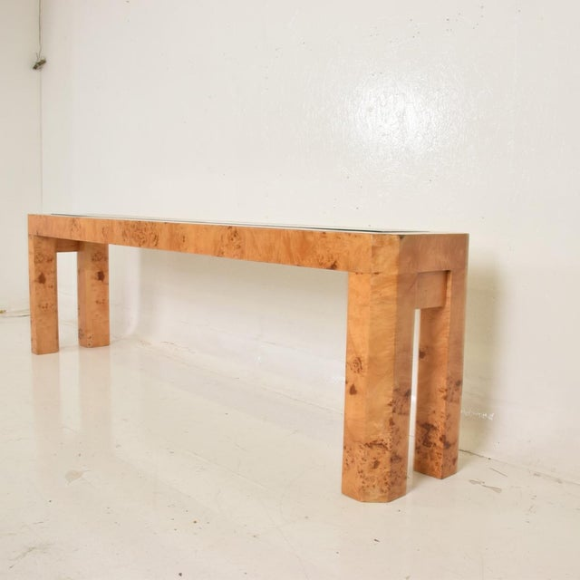 For your consideration, a mid century modern French custom ash burlwood console table. Custom made. Unique, one of a kind....