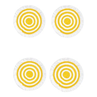 Woven Fringe White and Yellow Placemats - Set of 4