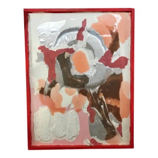 Mixed Media Resin and Fabric Painting in Pinks, Reds, Silver and Oranges