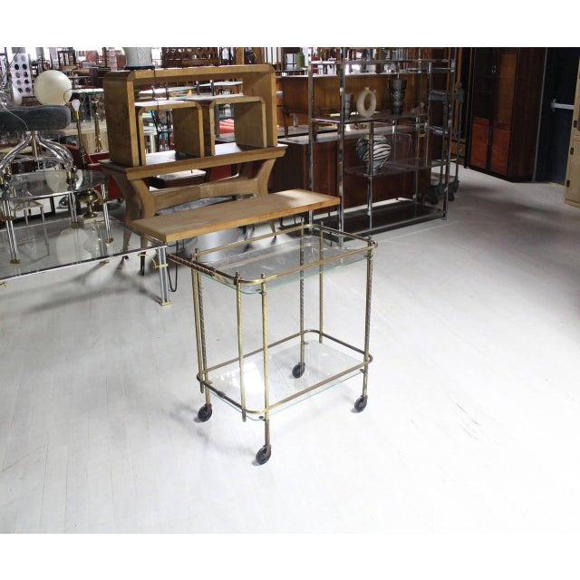 Brown Brass Tube Frame and Glass Rectangular Tea Bar Cart For Sale - Image 8 of 8