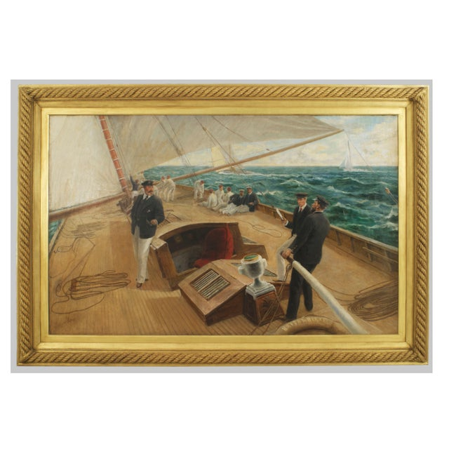 """Canvas """"On the Britannia"""" Oil Painting by Tom Henry For Sale - Image 7 of 7"""
