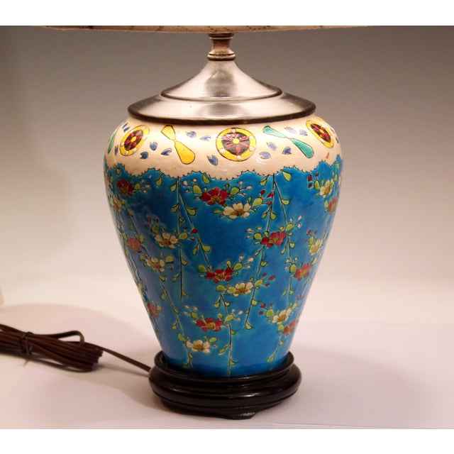Old Antique Japanese French Pottery Longwy Turquoise Studio Lamp For Sale In New York - Image 6 of 10